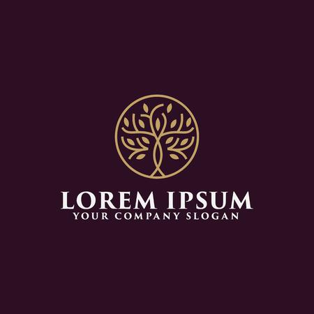 luxury tree logo design concept template Stock Illustratie