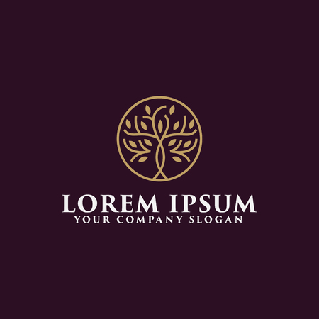luxury tree logo design concept template Vettoriali