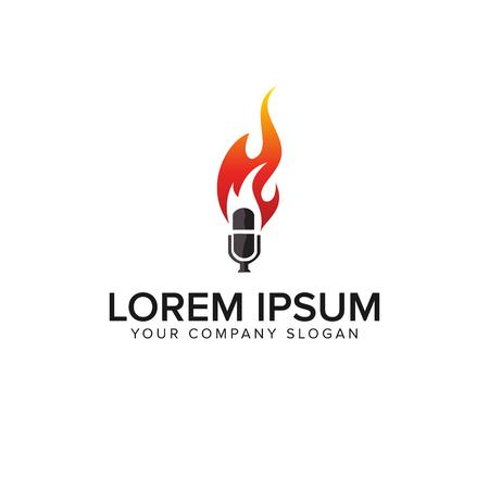 microphone fire logo design concept template Ilustração