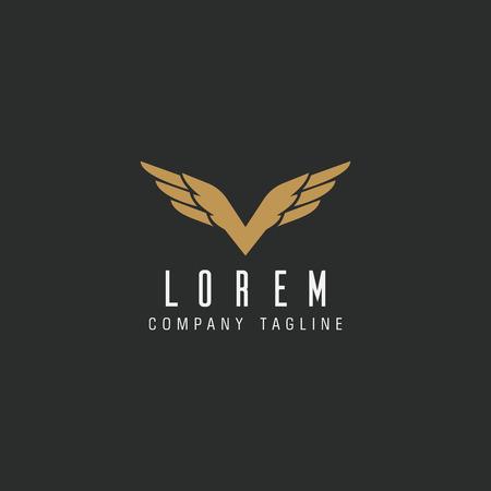 Luxury letter V wings logo design concept template