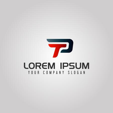 현대 편지 TP 로고입니다. 속도 디자인 개념 템플릿 일러스트