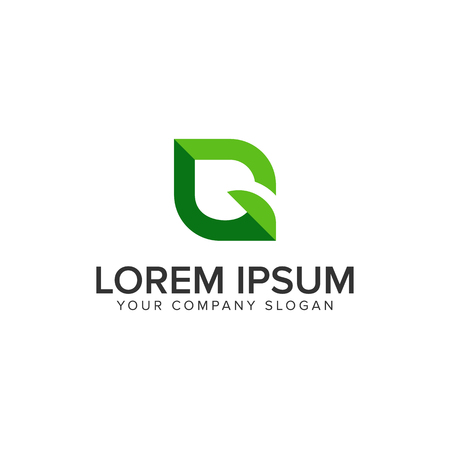 녹색 잎 편지 G 로고 디자인 컨셉 템플릿
