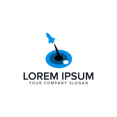 lounch rocket logo design concept template