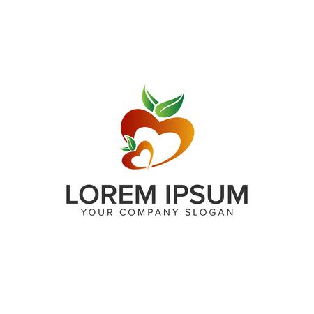 love fruit logo design concept template