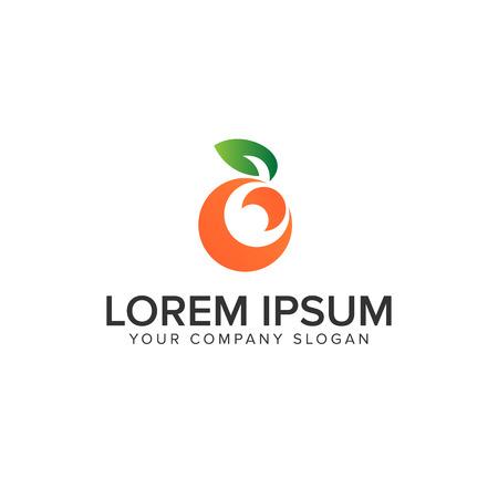 fruit orange logo design concept template