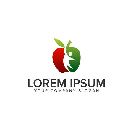 Plantilla de concepto de diseño de logo de gente de apple Foto de archivo - 85116342