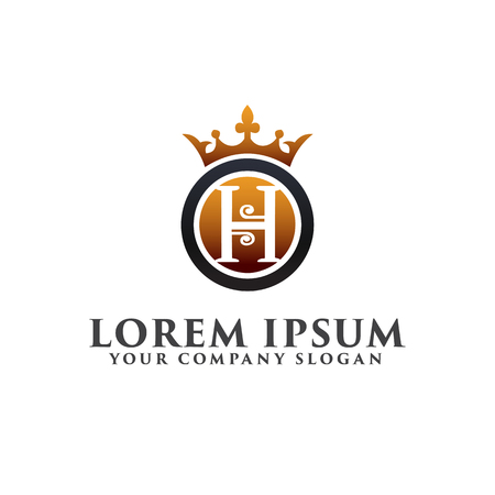 luxury letter H with crown logo design concept template