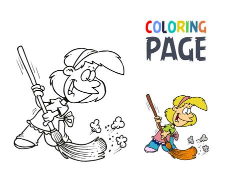 빗자루 색칠 페이지가있는 어린 소녀 일러스트