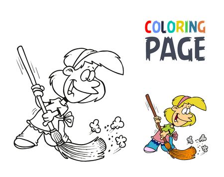 young girl with a broom coloring page