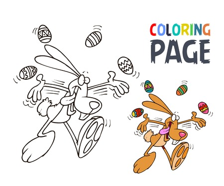 rabbit and egg cartoon coloring page Illustration
