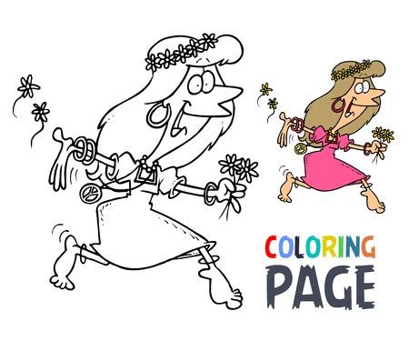 Women dancing cartoon coloring page Illustration