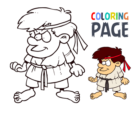 karate martial art cartoon people coloring page
