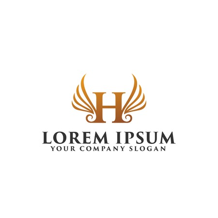 luxury letter H wings logo design concept template