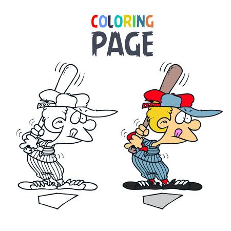 Dibujos Animados De Personas De Béisbol Para Colorear Ilustraciones ...