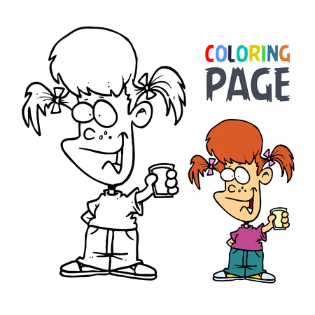 young girl with glass cartoon coloring page Ilustracja