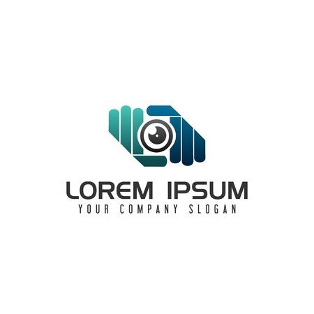 手カメラ レンズ写真ロゴ デザイン コンセプト テンプレート