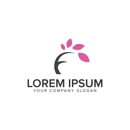 letter F tree Logo design concept template