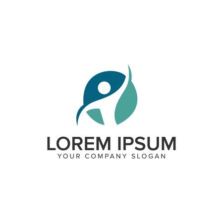 healthy people Logo design concept template Ilustracja