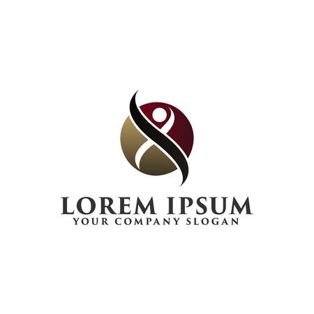 initial cap: luxury people circle Logo design concept template