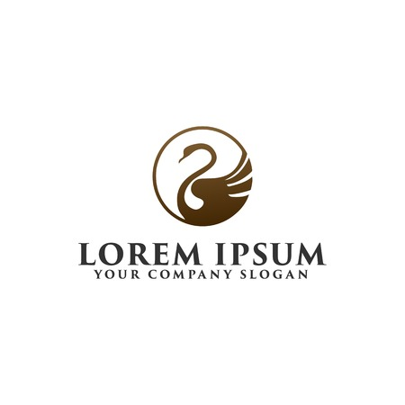 luxury swan Logo design concept template Illustration