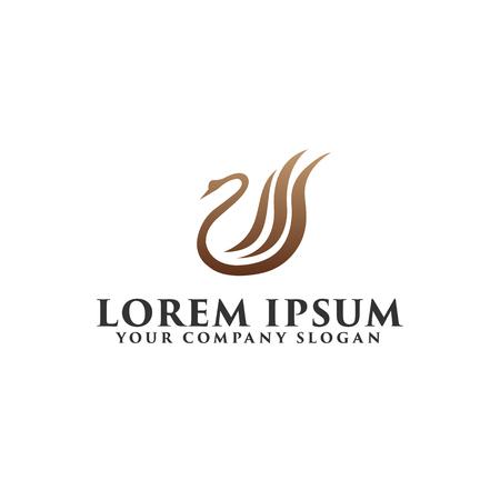 luxury swan Logo design concept template Illustration