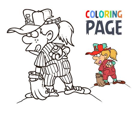 Colorear Dibujos Animados De Chica De Béisbol Ilustraciones ...