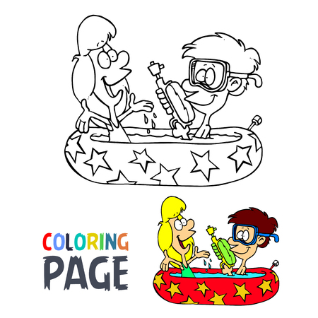 kids take a bath cartoon coloring page