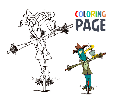 Scarecrow and bird cartoon coloring page