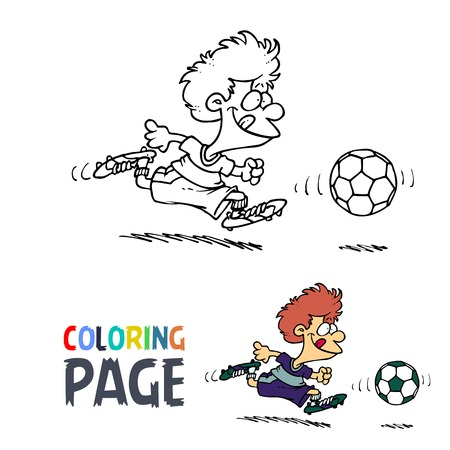 Boy playing football cartoon coloring page
