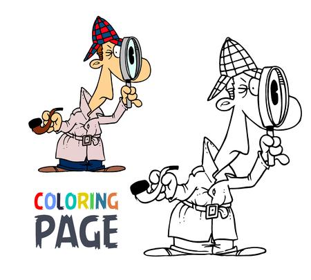 탐정 남자 만화 색칠 공부 페이지