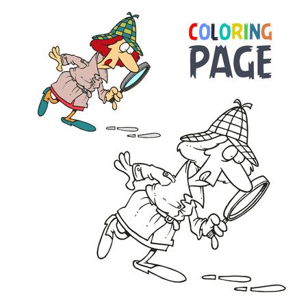 탐정 여성 만화 색칠 공부 페이지