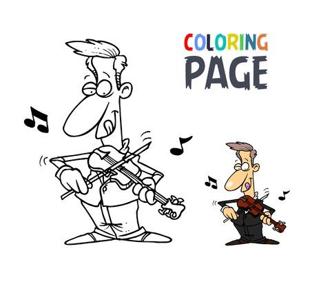 Mensen spelen viool cartoon kleurplaat Stockfoto - 86157406