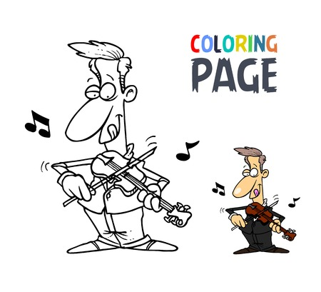 People playing violin cartoon coloring page Illustration