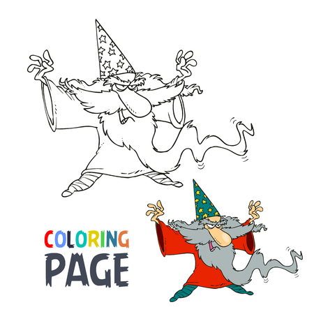 Old people wizard cartoon coloring page