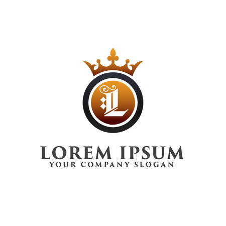 Luxury Letter L with crown Logo design concept template