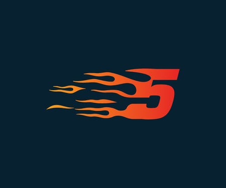Number 5 fire flame Logo. speed race design concept template 向量圖像