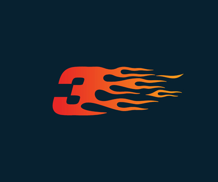 Number 3 fire flame Logo. speed race design concept template