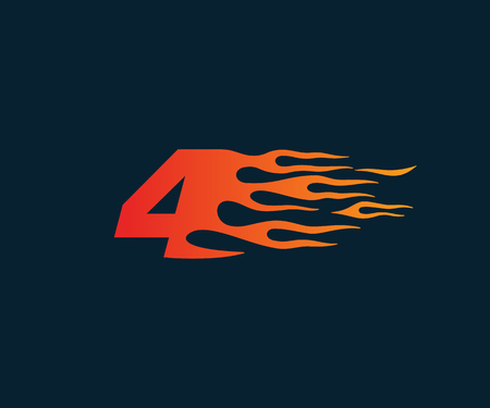 Number 4 fire flame Logo. speed race design concept template