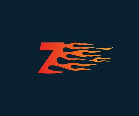 Number7 fire flame Logo. speed race design concept template Stok Fotoğraf - 86488837