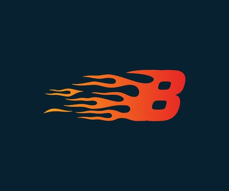 Number 8 fire flame Logo. speed race design concept template Illustration