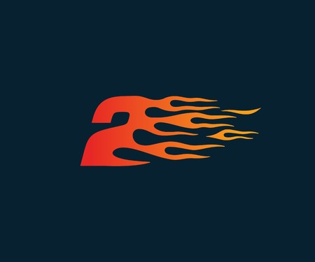 Number 2 fire flame Logo. speed race design concept template 向量圖像