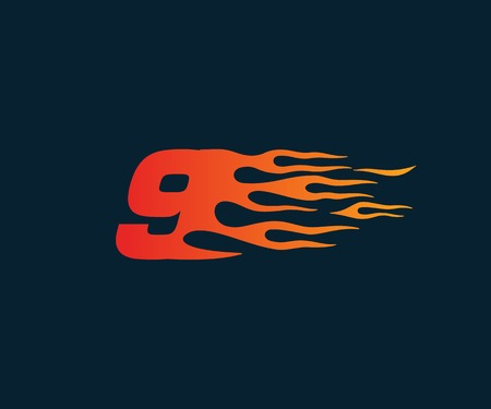 Number 9 fire flame Logo. speed race design concept template