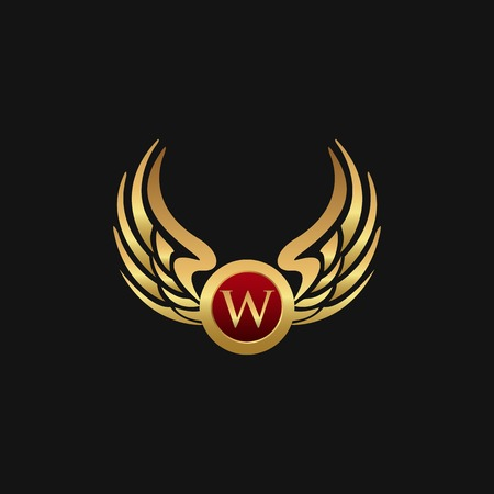 Luxury Letter W Emblem Wings logo design concept template