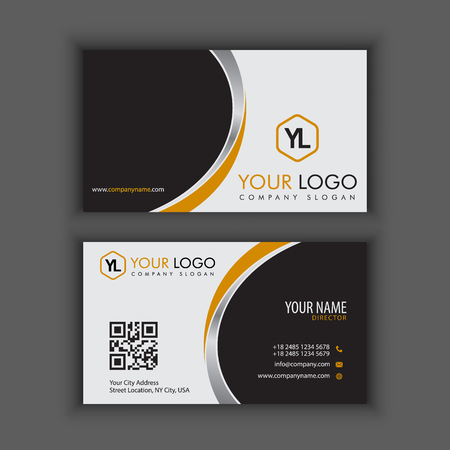 Modern Creative and Clean Business Card Template with yellow chrome color