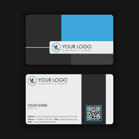 Vector Modern Creative and Clean Business Card Template with blue dark color