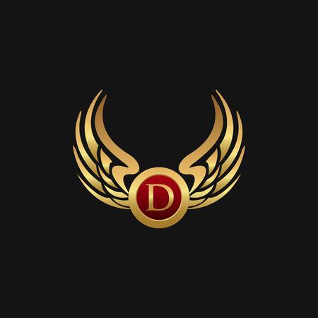 高級手紙 D エンブレム翼ロゴ デザイン コンセプト テンプレート