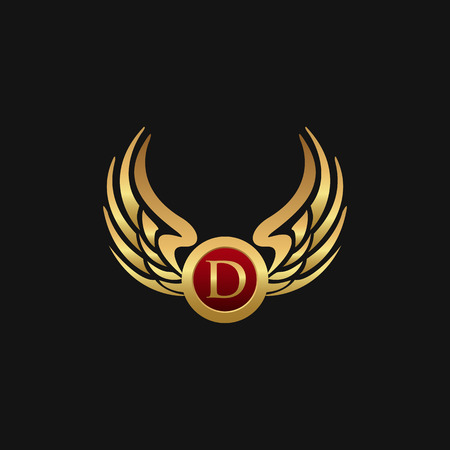 Luxury Letter D Emblem Wings logo design concept template