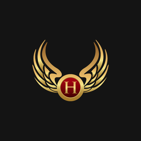 Luxury Letter H Emblem Wings logo design concept template Ilustracja