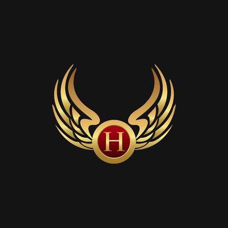 Luxury Letter H Emblem Wings logo design concept template Vettoriali