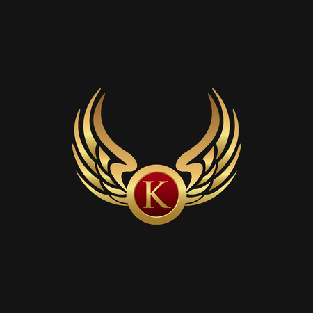 럭셔리 편지 K 상징 날개 로고 디자인 컨셉 템플릿